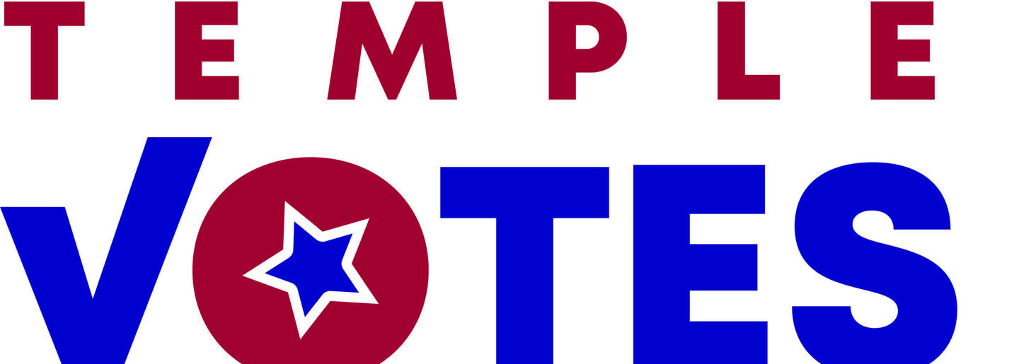 Words Temple Votes in red and blue.  The Letter V is a check mark and the letter O has a blue star as the center.