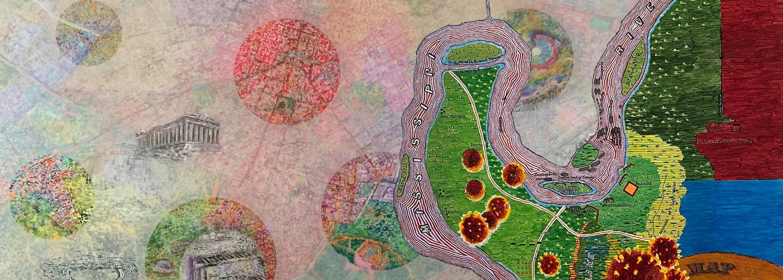 Map artwork by Joyce Kozloff and Simonetta Moro