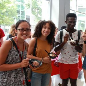 Students at ice cream social