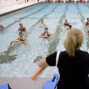 group doing aerobics