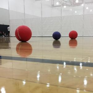 dodgeballs in a gym