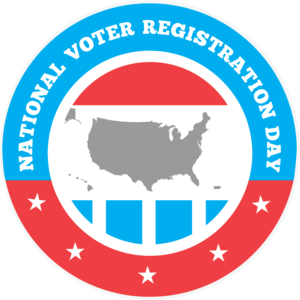 Red, white, and blue circle with a map of the United States in the center and text that says National Voter Registration Day
