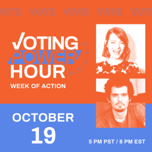 Voting Power Hour with photos of Emma Stone and Damien Chazelle