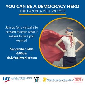 Woman in a red cape and superhero mask with text about the date and time of info session
