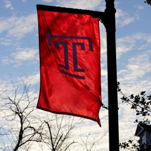 The Temple T flag at Temple Ambler.