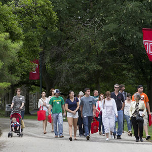 Prospective and admitted students take a tour of campus.
