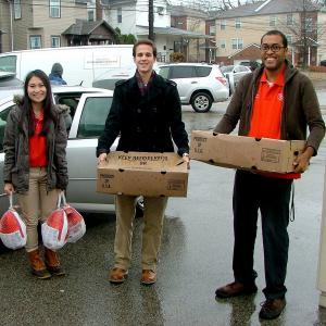 Students deliver turkeys to the Mattie Dixon Community Cupboard in Ambler Borough.