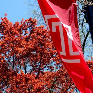 Temple T Banner in the Spring.