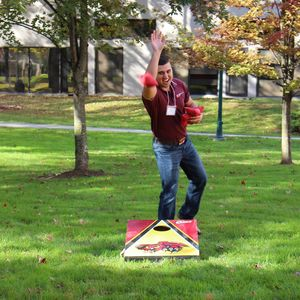 Cornhole contest at Temple University Ambler.