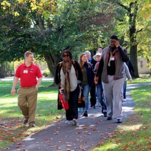 Prospective students take a tour of campus.