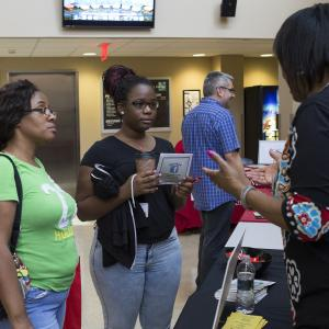 Visitors learn about Temple University Ambler at Transfer Decision Day.