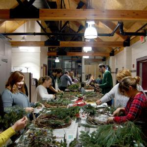 Wreath Making in the Ambler Campus Greenhouse.
