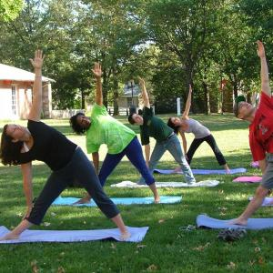 A yoga session at Temple University Ambler.