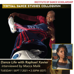 Image of dancer Raphael Xavier overlaid by smaller image of Macca Malik in bottom right corner.