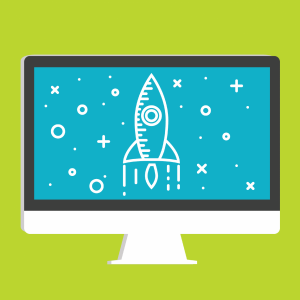 Cartoon thumbnail image of desktop computer displaying a picture of a rocket in outerspace.