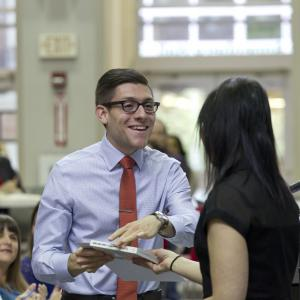Student receiving award from faculty member