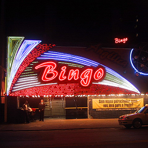 Photo of the neon BINGO sign on a bingo parlor