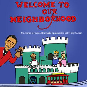 Cartoon of Fred Rogers in his neighborhood of make believe