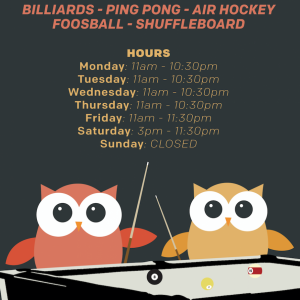 Game Room Hours Fall 2018