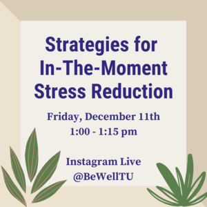 "Plants with text ""Strategies for In-The-Moment Stress Reduction Friday, December 11th 1:00-1:15pm on Instagram Live."""