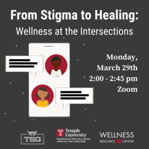 """Illustration of mobile phone with people texting and text that reads """"From Stigma to Healing: Wellness at the Intersections Monday, March 29th 2:00-2:45pm Zoom"""""""