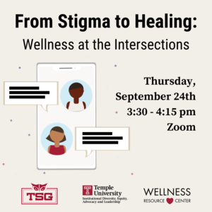 "Phone with illustrations of people and chat boxes on screen. Text reads ""From Stigma to Healing: Wellness at the Intersections Thursday September, 24th 3:30-4:15pm Zoom. TSG, IDEAL, and WRC logos."