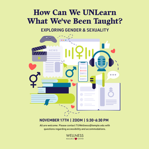 "Images of a microphone, video game controller, heart, gender symbols, books, megaphone, chat bubbles, etc. with text that reads ""How can we UNLearn what weve been taught? Exploring Gender and Sexuality. November 17th Zoom 5:30-6:15pm"""