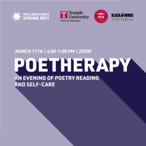 "Text reads ""Poetherap: an evening of poetry reading and self-care March 11th 6:00-7:00pm Zoom"""