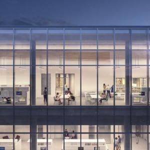 rendering of top floor graduate scholars studio
