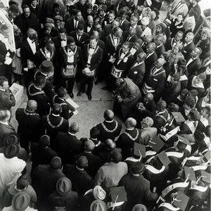large crowd black and white photo