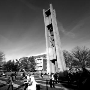 temple university belltower black and white