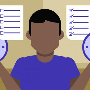 Clipart of a man holding two clocks and to-do lists to represent