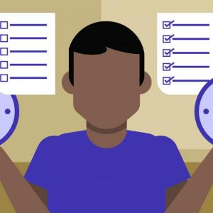 A clipart balancing to-do list and clocks in both hands to represent time management.