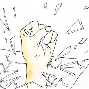 Drawing of a fist breaking through glass.