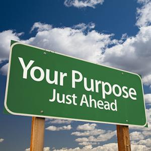 "A road sign reading ""Your purpose just ahead"""