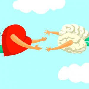 A heart and brain on a trapeze.