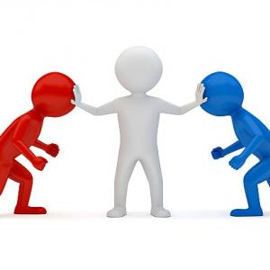 A clipart image of a figure breaking up an argument between two people.