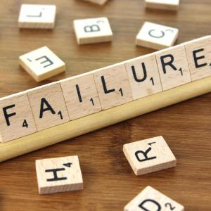 """Scrabble letters spelling out the word """"failure"""""""
