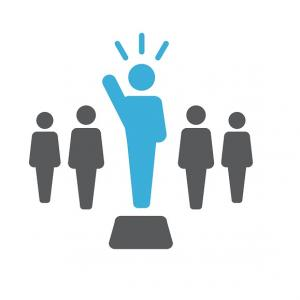 a clipart image of a group of people with a leader standing on a platform waving