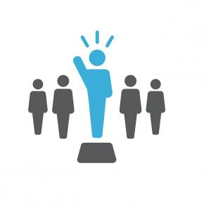 Four clipart people standing in a row with one in blue to show that is the leader.