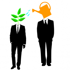Two people in suits standing next to each other, one has a plant as a head and one has a watering can instead of a head to symbolize mentoring.