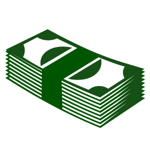 Clip art of a stack of green money.