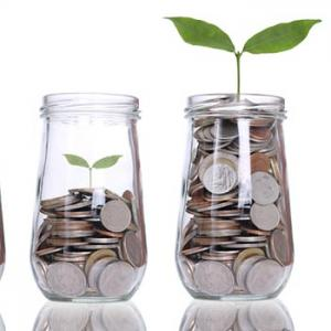 Jars of coins with a plant growing from them to indicate saving money.