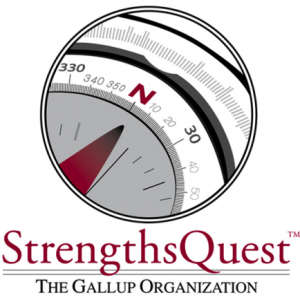 The StrengthsQuest compass pointing north with StrengthsQuest written under it in red.