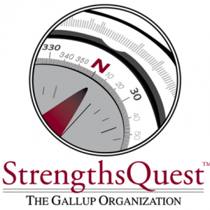 """The StrengthsQuest compass pointing north with """"strengthsquest"""" written under it in red."""