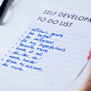 A to-do list with self-development goals on it.
