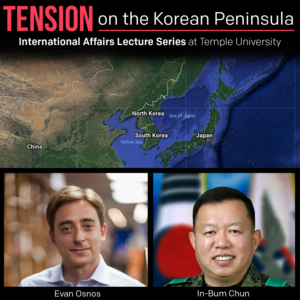 """Text reads """"Tension on the Korean Peninsula"""". Photo shows map of Korea with speaker headshots"""