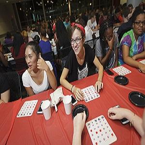 Students playing bingo.