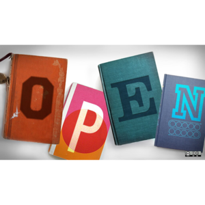 Open spelled out on books