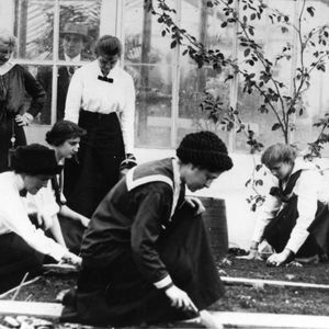 Students working in a greenhouse c. 1911